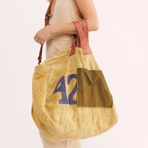 NWOT We the Free Bungalow  Blue Canvas Tote